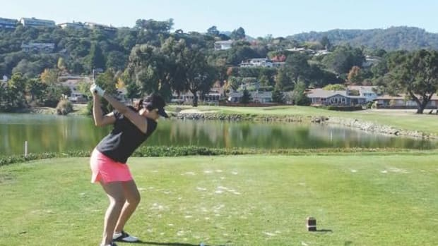 Jessica Dailleboust shows off her swing.