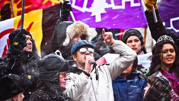Mista Wasis addresses the crowd at the Idle No More rally on Parliament Hill in Ottawa on December 21. Photo by Nadya Kwandibens of Red Works Studio, redworks.ca