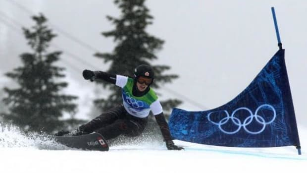 Canada's Caroline Calve, an advocate for the First Nations Snowboard Team, competes during the women's parallel giant slalom snowboard qualifications at the Vancouver Winter Olympics at Cypress Mountain in West Vancouver, B.C., on February 26, 2010. (AP Photo/Darryl Dyck, CP)