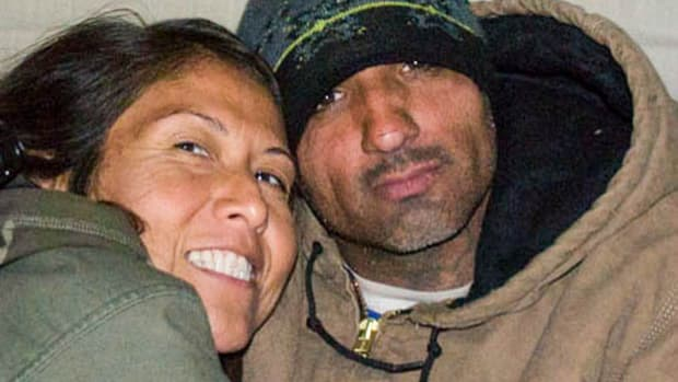 "NoDAPL Water Protector Michael ""Little Feather"" Giron (right) was sentenced to 36 months in prison. He will be credited with time served during the past 15 months. (Leoyla Cowboy, wife, on left)."
