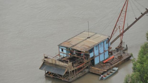 Pictured is one of the dredges that are used to wash gold from the rivers in Peru. In February 1,500 troops started destroying these dredges that were operating illegally. The operative was cut short due to fear of unrest.