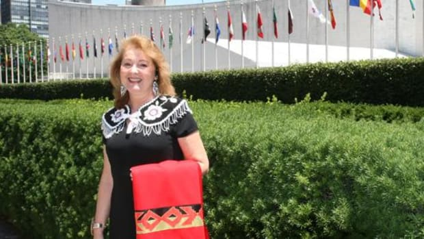 Tonya Gonnella Frichner walked on February 14, 2015. She is seen here in front of the UN.