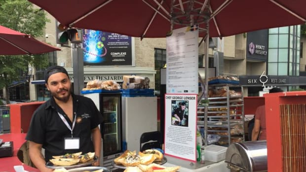 Chef George Lenser presided over the food kiosk at the Montreal First Peoples Festival 2017.