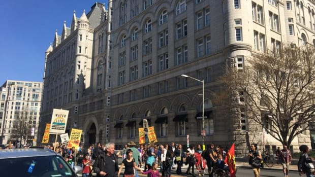 Native Nations and their allies march in Washington D.C. in front of Trump Hotel in support of indigenous rights and opposition to the Dakota Access Pipeline.
