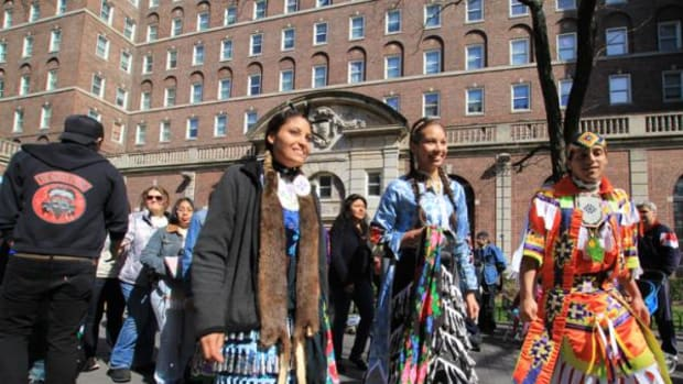 Columbia University Powwow committee members Sara Chase, Cholena Smith and Duncan Munson