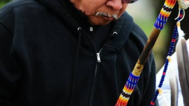 "Norman ""Wounded Knee"" DeOcampo (Miwok), a long-time resident of Vallejo, California is taking part in the Longest Walk 5. He has participated in all five Longest Walks."