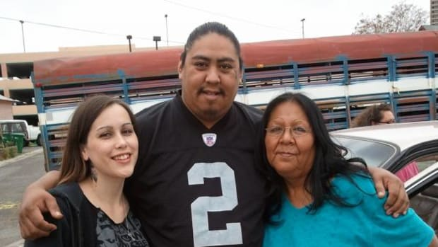 Johnny Bonta, center, with his daughter Alyssa and mother Barbara Happy. Johnny was a victim of an apparent hate crime on May 24 as he was allegedly attacked outside a gas station in Fernley, Nevada.