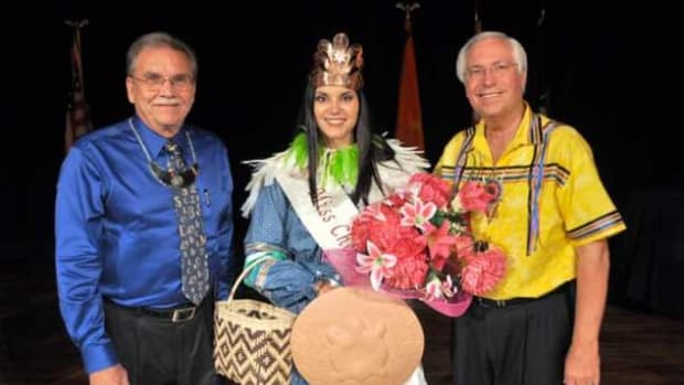 Pictured, from left, are Cherokee Nation Deputy Chief S. Joe Crittenden, Miss Cherokee Sunday Plumb, of Tahlequah, and Principal Chief Bill John Baker.