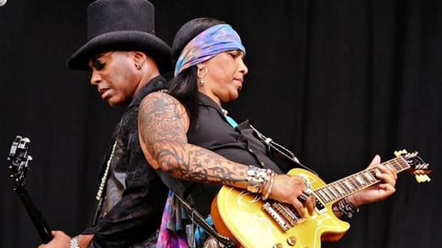 Jean Beauvoir (left) and Micki Free on stage. The duo's latest album is 'American Trash.'