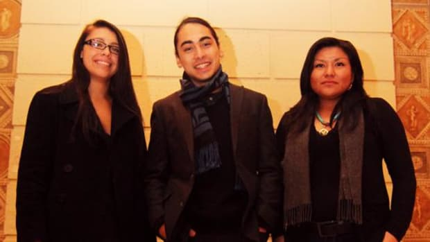 Fantasia Painter, Julian Brave NoiseCat and Tristan Moone are all members of the Native American Council at Columbia University (Photo by Cliff Matias)