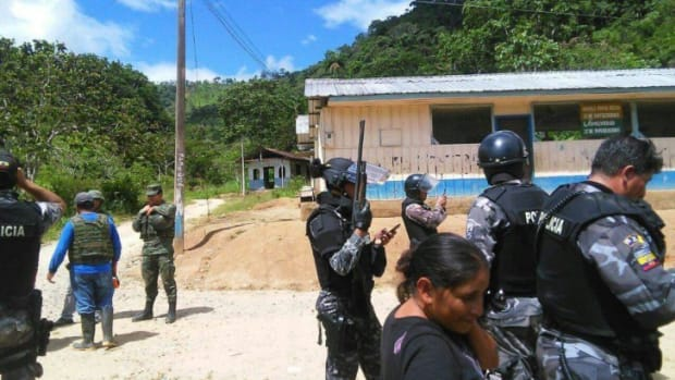 Police and soldiers have violently evicted Shuar families