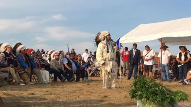 Yakama Nation Chairman JoDe Goudy spoke when he and a delegation of tribal leaders from Washington State visited the Sacred Stone Camp at the end of August, support resolution in hand.