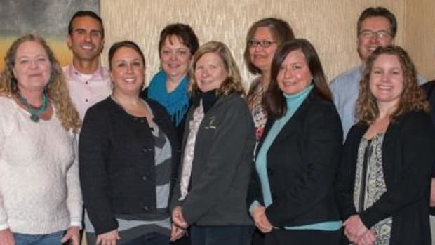 Pictured in the bottom row, from left, are: Karla Sartin, Quantified Consulting, Inc., Courtney Aitken-Gifford, Leech Lake Tribal College, Sharon Marcotte, Leech Lake Tribal College, Nadine Bill, Leech Lake Tribal College, Karen White, Bemidji State University. Pictured in the top row, from left, are: Dan King, Red Lake Nation College, Anton Truer, Bemidji State University, Candi Broeffle, Fond du Lac Tribal and Community College, Deborah McArthur, White Earth Tribal and Community College, Robert Griggs, Bemidji State University, Eugene McArthur, Red Lake Nation College. John Centko, Northwest Technical College, is not pictured.