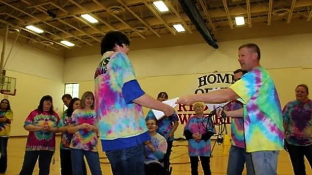 Tie-Dye Friday at Red Lake Middle School.