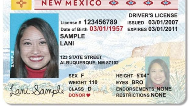 This image provided by the New Mexico Department of Taxation and Revenue shows a sample of the state's new driver's licenses. The state's Motor Vehicle Division unveiled a new hi-tech driver's license on Tuesday, April 22, 2008, to better protect the public from identity theft. The new license program uses bio-metric facial recognition technology and other security features that will not be revealed to the public. The new license procedure now starts with a temporary license. While confirming a person's identity, applicants for licenses will now leave the MVD office with a temporary license, which they will use until the permanent license arrives in the mail within seven to ten days.