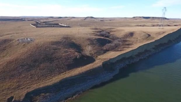 Photo from drone footage over Dakota Access Pipeline construction.