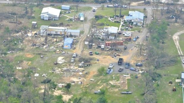 Aerial view of some of the devastation in Tushka. The tornado damaged 237 homes in this small community, completely destroying 149.  The Choctaw Nation is providing much needed aid in the area, such as supplying tarps to cover roofs of the homes left standing.