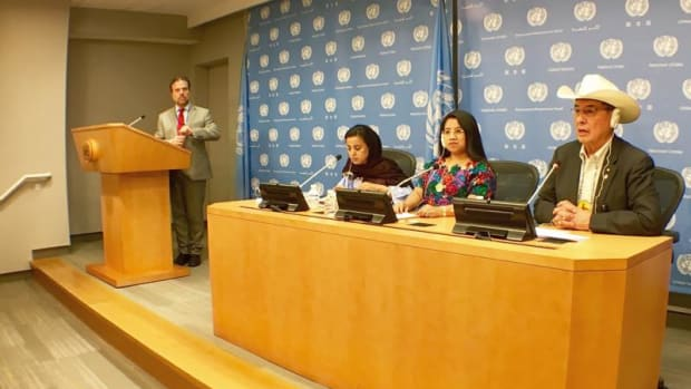 Left to right, Mariam Wallet Aboubakrine, Aura Leticia Teleguario Sincal and Chief William Littlechild mark the 10th anniversary of the United Nations Declaration on the Rights of Indigenous Peoples at the opening of the 16th session of the UN Forum on Indigenous Issues.