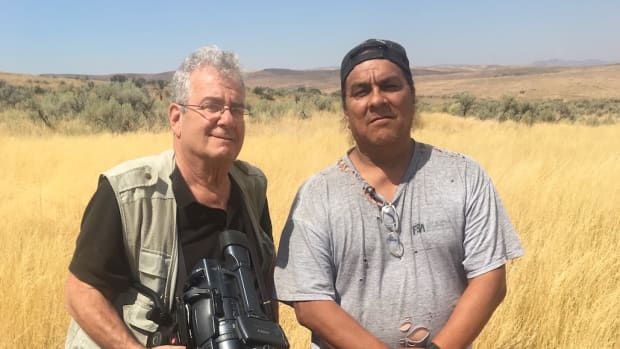 Documentary filmmaker Joel Freedman with Joseph Holley, former chairman and now councilman of the Battle Mountain Band of Te-Moak Western Shoshone, seen here in the Tosawihi Complex, a sacred landscape encompassing scores of square miles in the traditional tribal homeland, now federal land administered by the Bureau of Land Management.