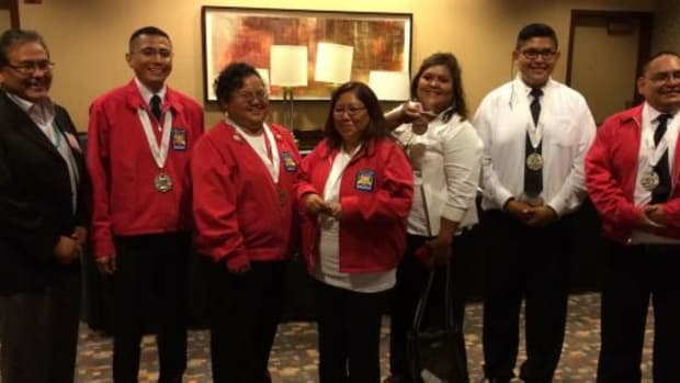 Navajo Technical University's SkillsUSA national medalists pose with their medals and NTU President Dr. Elmer J. Guy. Pictured, from left, are NTU President Dr. Elmer J. Guy, Dwight Carlston, Kim Mahung, Adriane Tenequer, Candice Craig, Dexter Dale, and Sherwin Becenti. Not pictured: Collins Woody.