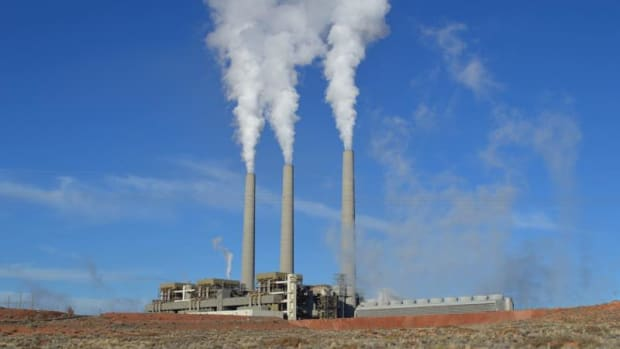 The Navajo Generating Station smokestacks are a fixture on the landscape from miles away.