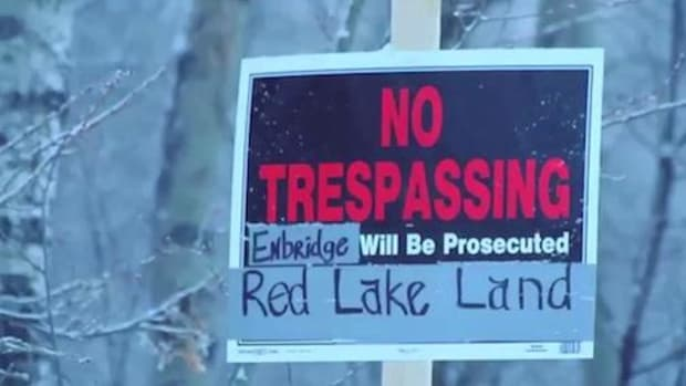 Red Lake Band of Chippewa members have been camped out atop four Enbridge pipelines outside Leonard, Minnesota, since February 28 to protest what they say are a lack of easements on their property.