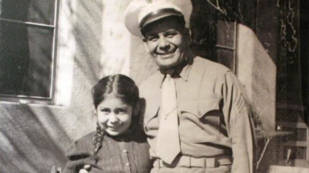 This image shows a photograph of Miguel Trujillo of Isleta Pueblo and his daughter that was on display as part of an exhibit at the Indian Pueblo Cultural Center in Albuquerque, New Mexico. Trujillo fought in 1948 for the right of American Indians to vote in New Mexico. While Native Americans were granted citizenship in 1924, many states still didn't allow Natives to vote. (Full image below)