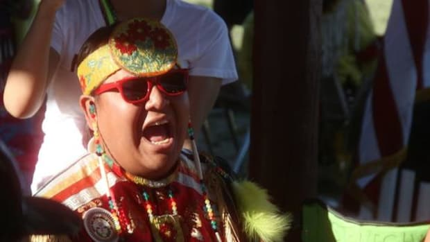 A member of the Wildhorse Singers belts out a song during the Eastern Shoshone Indian Days. The group from North Battleford, Saskatchewan, served as Northern Host Drum. The Ottertrail Singers from Lawton, Oklahoma served as Southern Host Drum.