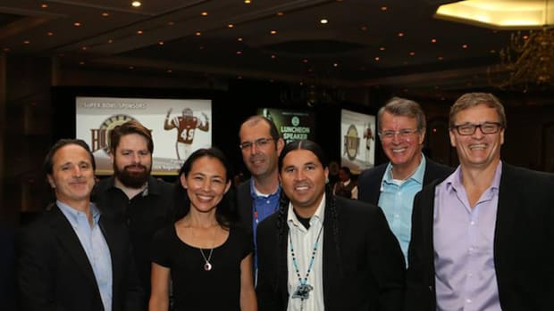 In March 2016, the Catawbas purchased a movie and television production company. Pictured are the Red Heritage Media crew with Catawba Tribal representatives and (in the middle) guest Irene Bedard, a Golden Globe-nominated Alaska Native actress.