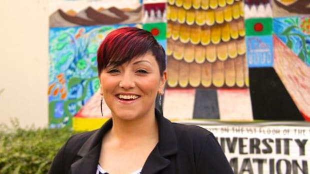Melissa Leal, Esselen/Ohlone, was captivated by rap and hip hop music growing up and is now using it to teach culture and Native languages to her students.