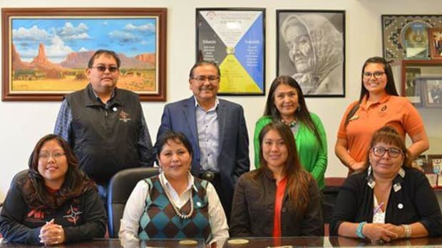 Four NTU scholars were recipients of the American Indian College Fund's Clare Booth Luce Scholarship, whose intent is to encourage women to enter, study, graduate, and teach in science, mathematics, and engineering. Receiving the prestigious scholarship from NTU were, from left, industrial engineering major Adriane Tenequer, computer science major Laverne Moore, industrial engineering major Kierra Nalwood, and computer science major Ophelia Descheny-Burnside. Pictured in the back, from left, NTU Director of Institutional Development Jason Arviso, NTU President Dr. Elmer J. Guy, NTU Provost Tina Deschenie, and AICF internship and career-readiness coordinator Tiffany Gusbeth.