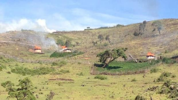 Homes of the Sengwer tribe in Kenya's Cherangany Hills torched by forest guards.