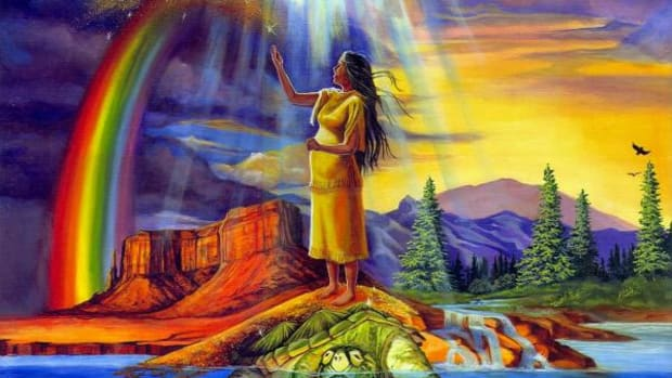 """American Indian artists from across the country have contributed artwork, depicting cultura themes and healthy lifestyles, to the American Cancer Society's """"Circle of Life"""" program. Here, Marcine Quenzer illustrates the Iroquois creation. (Photo courtesy of ACS)"""