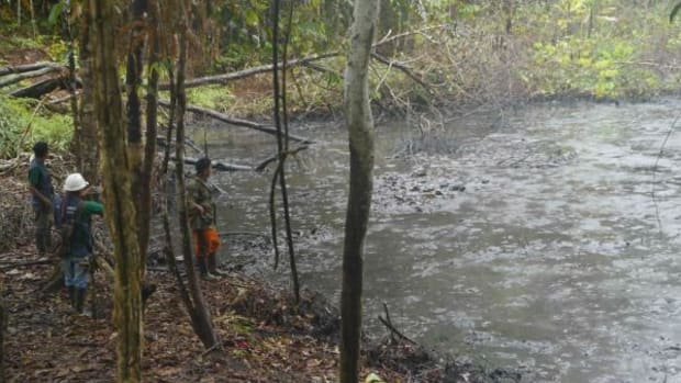 Lakes filled with oil and industrial waste dot the swampy landscape of the Pastaza and other Amazon tributaries where PlusPetrol and other oil companies operate.