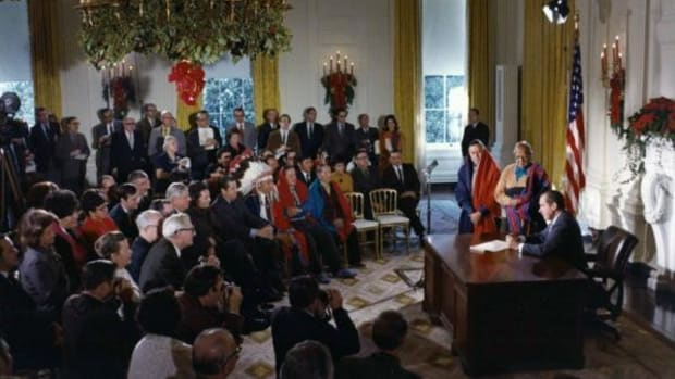 President Richard Nixon released a Self-Determination Policy on July 8, 1970. Nixon formed a bond with Coach Wallace Newman, a member of the La Jolla Band of Luiseño Indians, while attending Whittier College.