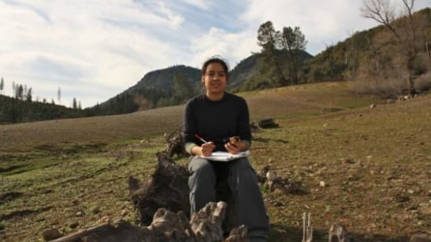 During a February trip into the field, Stanford anthropology student Lyla Johnston stopped to rest while taking a GPS and elevation reading of an endangered Winnemem Wintu sacred site