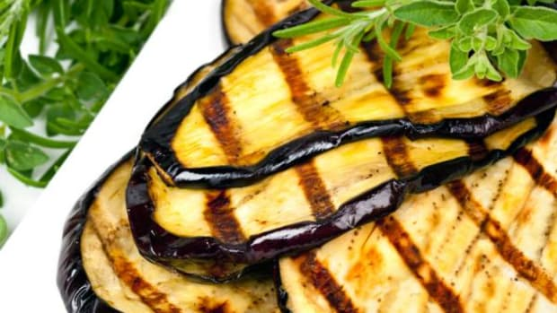 A quick brush of olive oil and sprinkle of seasoning and eggplant is ready to be grilled.