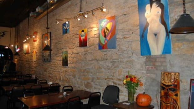 J&J's Gallery Bar in North Topeka, Kansas features artwork by local Indian artists. (Lorraine Jessepe)