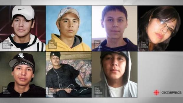 The seven indigenous students who have died in Thunder Bay since 2000 are, from top left, Jethro Anderson, 15, Curran Strang, 18, Paul Panacheese, 17, Robyn Harper, 18, Reggie Bushie, 15, Kyle Morriseau, 17, and Jordan Wabasse, 15.