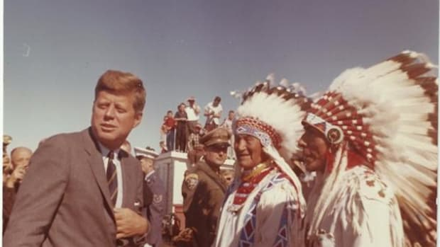 This image of John F. Kennedy was taken by White House photographer Cecil Stoughton. Kennedy was president at the beginning of the Tribal Self-Determination Era, though he wasn't alive long enough to see the fruits of his labor in that area.