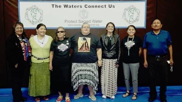 Presenters of Waters Connect Us gathering, (from left to right) Elouise Brown, Louise Benally, Debra White Plume, Nina Waste' Wilson, Laura Oocho, Leona Morgan, Manny Pino.