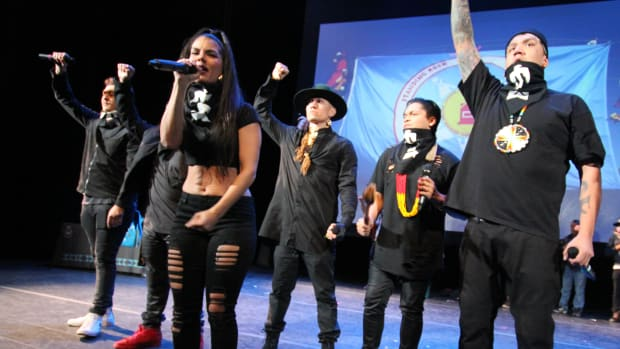Native American hip-hop artists take the stage in New York City at NYU's Skirball Center For the Performing Arts to raise awareness of climate change and racial injustice.