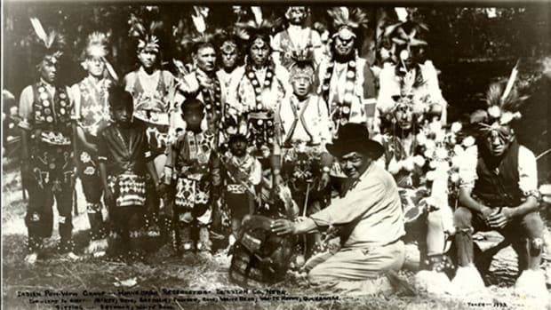 Winnebago Tribe archive pow wow photo circa 1922.