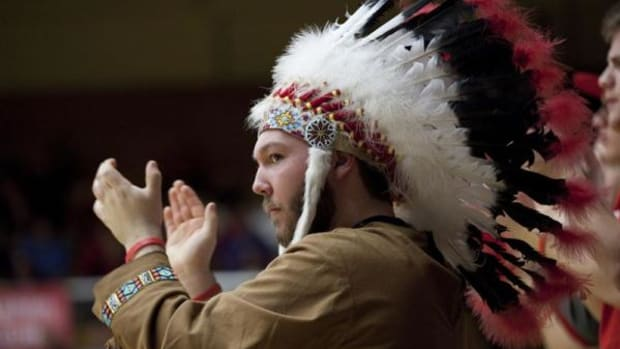 The Goshen mascot, above, is of a male wearing a Native American headdress. The Goshen Community Schools Board in Indiana voted Monday to repeal its R-word mascot and moniker by January 1, 2016.