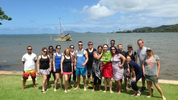 """Noelani Goodyear-Kaopua posted this image to the NAISA Facebook page, saying: """"Kanehunamoku crew-for-a-day! Good fun on our NAISA huaka?i, day of learning out on the land and sea. These were the lucky fourteen who got to sail on Kanehunamoku and swim with turtles at Ahu-o-Laka, in the malu of Kanehoalani. Many thanks!"""""""