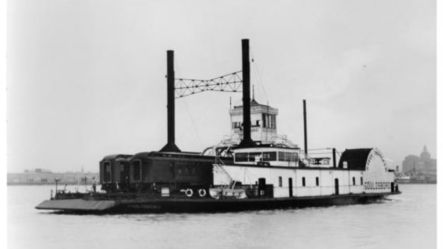 The USS Chickasaw was renamed the Gouldsboro and refitted for civilian use after her illustrious career during the War Between the States.
