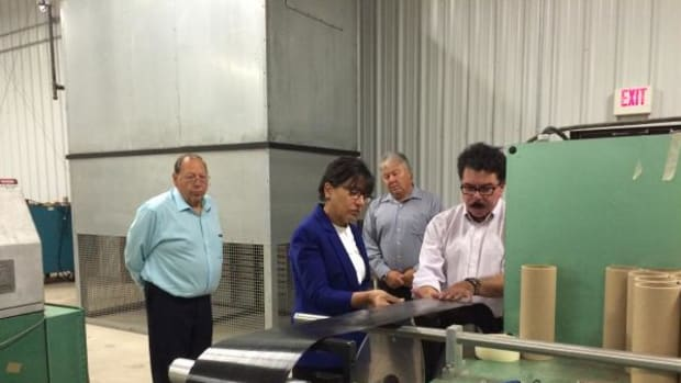 U.S. Secretary of Commerce Penny Pritzker met with tribal leaders in Michigan at the end of July, and while visiting she toured parts of the Bay Mills Indian Community including the Great Lakes Composites Institute.