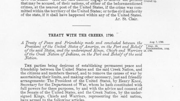 The 1790 Treaty of New York was the first treaty between the Muscogee (Creek) Nation and the newly formed U.S. government.