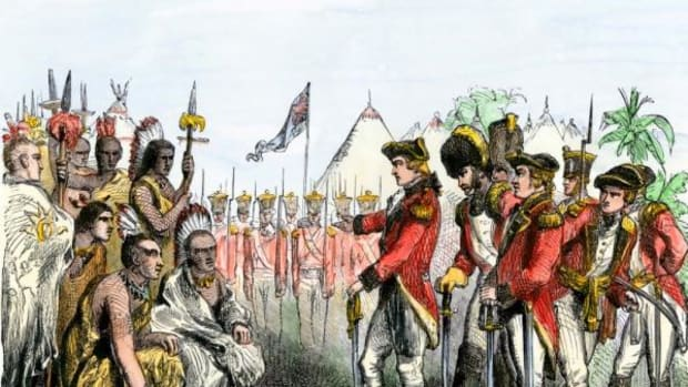 British General Burgoyne addressing Native Americans to secure an alliance during the Revolutionary War.
