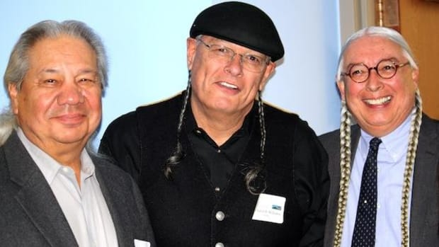 Those participating in a Free, Prior and Informed Consent-themed conference at the University of Colorado Law School included (from left) John Echohawk, head of the Native American Rights Fund; Rick Williams, retired president and CEO of the American Indian College Fund, and Walter Echo-Hawk, who gave an evening lecture and signed his book, In the Light of Justice: The Rise of Human Rights in Native America and the UN Declaration on the Rights of Indigenous Peoples. The conference, conducted by the American Indian Law Program and the Getches-Wilkinson Center for Natural Resources, Energy & the Environment, was held on November 1, the start of American Indian Heritage Month.